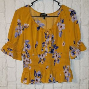 Jessica Simpson Floral Scoop Neck Smocked Blouse
